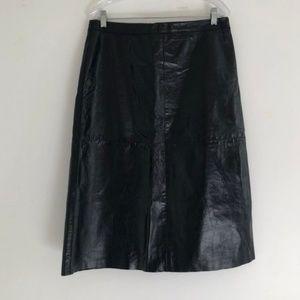Vintage Skirts - Vintage 90's Gap Leather Black Midi Skirt